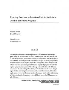 Admissions Policies in Ontario Teacher Education Programs