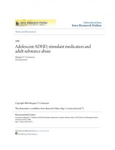 Adolescent ADHD, stimulant medication and adult substance abuse