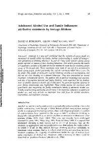 Adolescent Alcohol Use and Family Influences ...