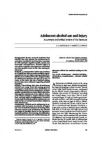 Adolescent alcohol use and injury
