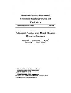 Adolescent Alcohol Use: Mixed Methods Research ...
