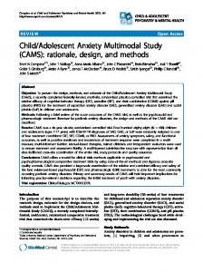 Adolescent Anxiety Multimodal Study (CAMS