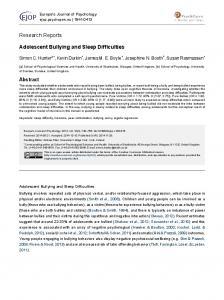Adolescent Bullying and Sleep Difficulties - You have reached the ...