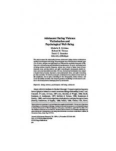 Adolescent Dating Violence Victimization and Psychological Well-Being