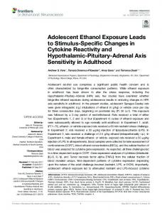Adolescent Ethanol Exposure Leads to Stimulus ...