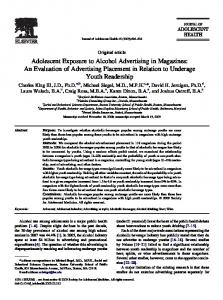 Adolescent Exposure to Alcohol Advertising in Magazines: An ...
