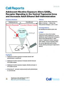 Adolescent Nicotine Exposure Alters GABAA Receptor Signaling in ...