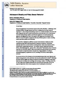 Adolescent Obesity and Risky Sexual Behavior