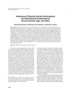 Adolescent Physical Activity Participation and ... - Semantic Scholar