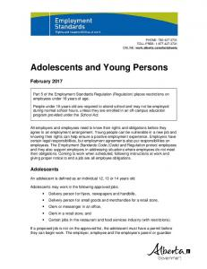 Adolescents and Young Persons Fact Sheet
