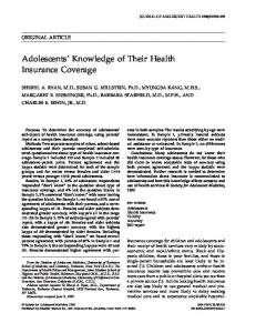 Adolescents' Knowledge of Their Health Insurance Coverage