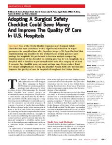 Adopting A Surgical Safety Checklist Could Save ... - Health Affairs