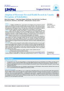 Adoption of Electronic Personal Health Records in Canada ...