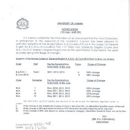 Adoption of revised Syllabi of General English for BA/ BSc/ BCom