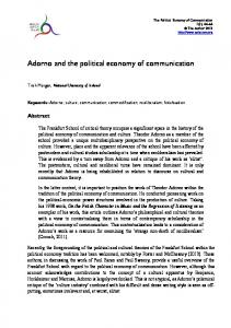 Adorno and the political economy of communication
