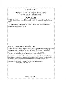 ADP013065 - Defense Technical Information Center