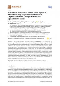 Adsorption Analyses of Phenol from Aqueous Solutions Using ... - MDPI