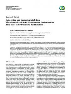 Adsorption and Corrosion Inhibition Characteristics of Some