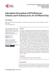 Adsorption-Desorption of BTX (Benzene, Toluene and O-Xylene) on