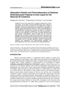 Adsorption Kinetics and Thermodynamics of Cellulose ... - BioResources