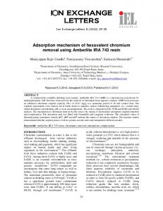Adsorption mechanism of hexavalent chromium removal using ...