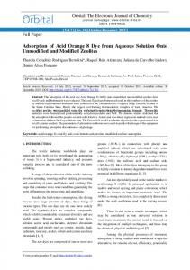 Adsorption of Acid Orange 8 Dye from Aqueous Solution Onto ...