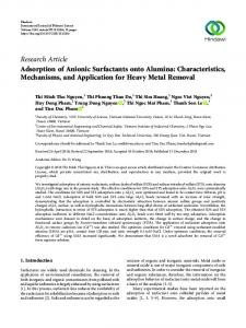 Adsorption of Anionic Surfactants onto Alumina: Characteristics