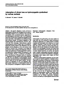 Adsorption of citrate ions on hydroxyapatite synthetized by ... - Core