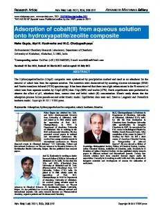 Adsorption of cobalt(II) - Advanced Materials Letters