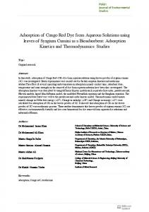 Adsorption of Congo Red Dye from Aqueous ...