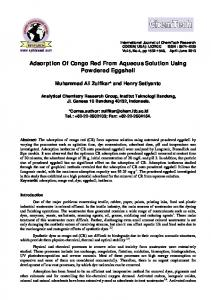 Adsorption Of Congo Red From Aqueous Solution Using Powdered ...