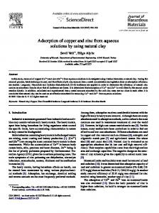 Adsorption of copper and zinc from aqueous ... - Semantic Scholar