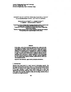 Adsorption of copper from aqueous solution by elais guineensis kernel ...