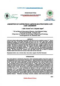 adsorption of copper from aqueous solution using