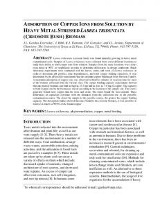 adsorption of copper ions from solution by heavy metal ... - CiteSeerX