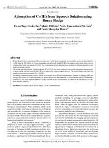 Adsorption of Cr(III) from Aqueous Solution ... - Matheo Journal System
