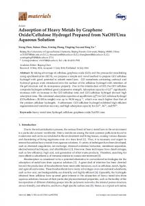 Adsorption of Heavy Metals by Graphene Oxide/Cellulose ... - MDPI