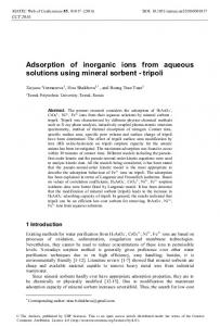 Adsorption of inorganic ions from aqueous solutions using mineral