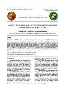 adsorption of lead and copper from aqueous solution
