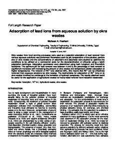 Adsorption of lead ions from aqueous solution by ... - Academic Journals