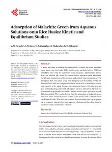 Adsorption of Malachite Green from Aqueous