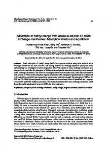 Adsorption of methyl orange from aqueous solution ...