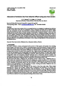 Adsorption of methylene blue from industrial effluent using poly ...
