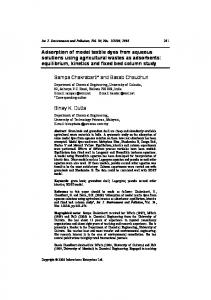 Adsorption of model textile dyes from aqueous ...