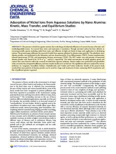 Adsorption of Nickel Ions from Aqueous Solutions by Nano Alumina ...