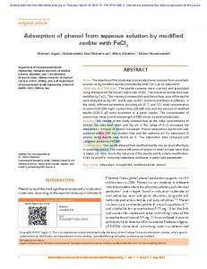 Adsorption of phenol from aqueous solution by