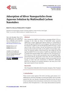 Adsorption of Silver Nanoparticles from Aqueous Solution by ...