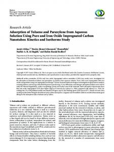 Adsorption of Toluene and Paraxylene from Aqueous Solution Using ...