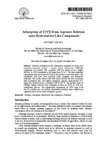 Adsorption of U(VI) from Aqueous Solution onto Hydrotalcite ... - Hindawi