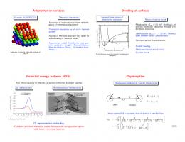 Adsorption on surfaces Bonding at surfaces Potential energy surfaces ...